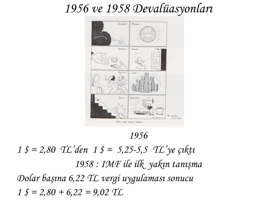 1956 ve 1958 Devalüasyonları 1956 1 $ = 2,80 TL'den 1 $ = 5,25-5,5 TL'ye çıktı 1958 : IMF ile ilk yakın tanışma Dolar başına 6,22 TL vergi uygulaması