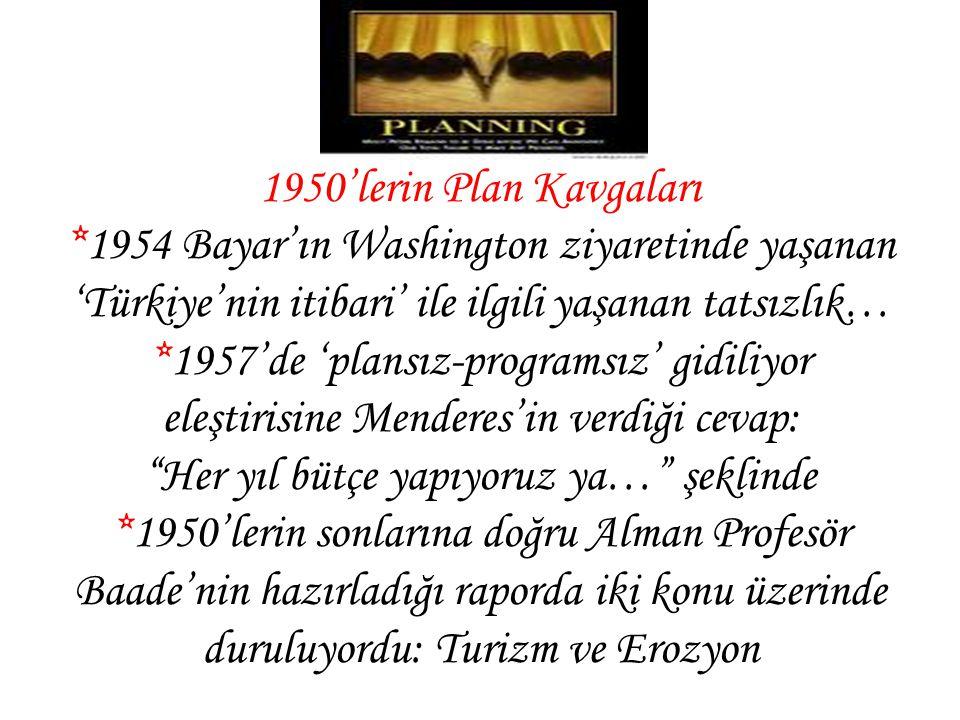 1950'lerin Plan Kavgaları *1954 Bayar'ın Washington ziyaretinde yaşanan 'Türkiye'nin itibari' ile ilgili yaşanan tatsızlık… *1957'de 'plansız-programs