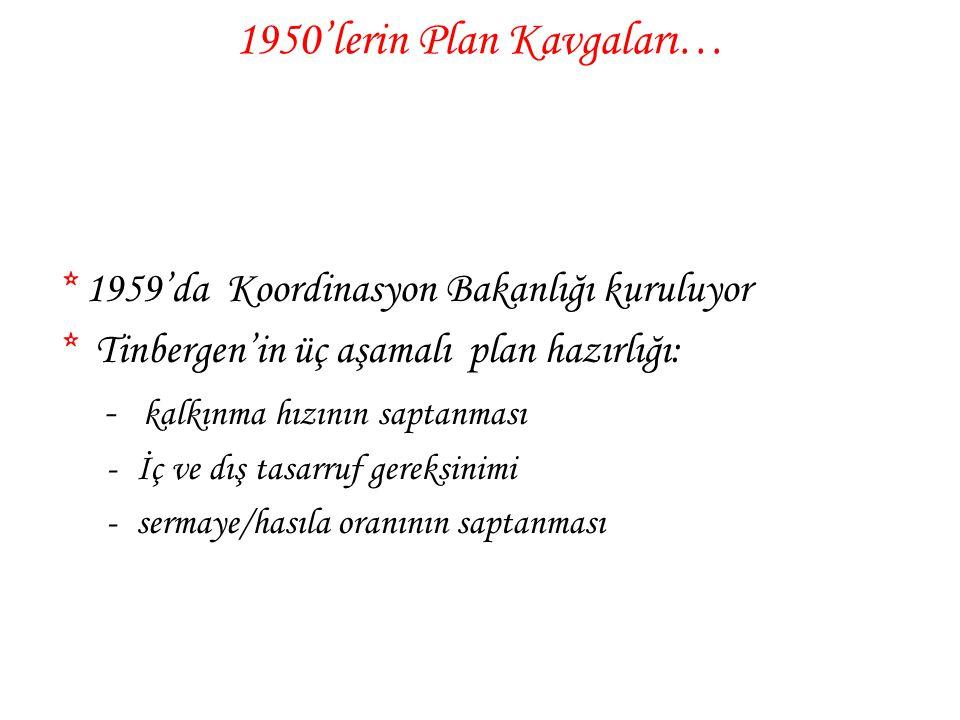 1950'lerin Plan Kavgaları… * 1959'da Koordinasyon Bakanlığı kuruluyor * Tinbergen'in üç aşamalı plan hazırlığı: - kalkınma hızının saptanması -İç ve d