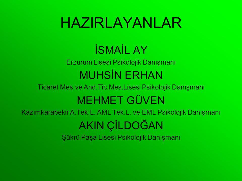 HAZIRLAYANLAR İSMAİL AY Erzurum Lisesi Psikolojik Danışmanı MUHSİN ERHAN Ticaret Mes.ve And.Tic.Mes.Lisesi Psikolojik Danışmanı MEHMET GÜVEN Kazımkara