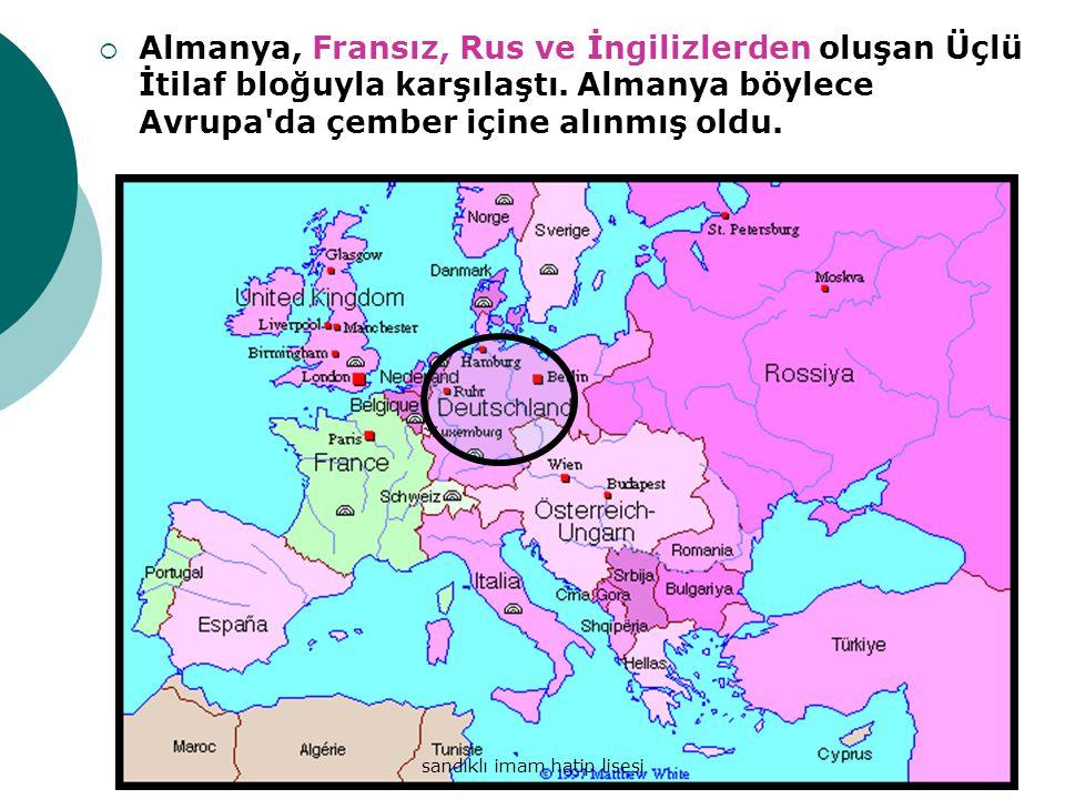 AAlmanya, Fransız, Rus ve İngilizlerden oluşan Üçlü İtilaf bloğuyla karşılaştı.