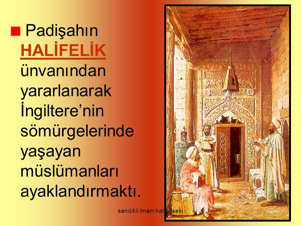 Padişahın HALİFELİK ünvanından yararlanarak İngiltere'nin sömürgelerinde yaşayan müslümanları ayaklandırmaktı.