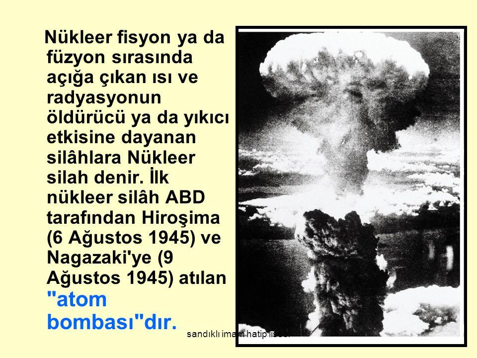 Nükleer fisyon ya da füzyon sırasında açığa çıkan ısı ve radyasyonun öldürücü ya da yıkıcı etkisine dayanan silâhlara Nükleer silah denir.