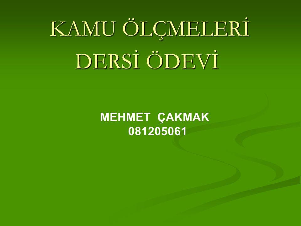 KAMU ÖLÇMELERİ KAMU ÖLÇMELERİ DERSİ ÖDEVİ MEHMET ÇAKMAK 081205061