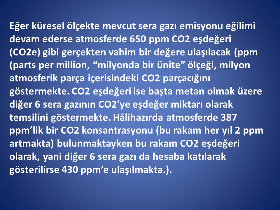 Eğer küresel ölçekte mevcut sera gazı emisyonu eğilimi devam ederse atmosferde 650 ppm CO2 eşdeğeri (CO2e) gibi gerçekten vahim bir değere ulaşılacak
