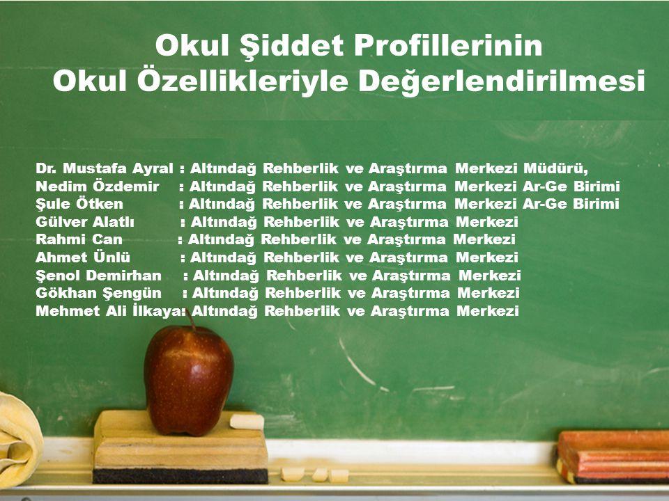 Okul Şiddet Profillerinin Okul Özellikleriyle Değerlendirilmesi Dr. Mustafa Ayral : Altındağ Rehberlik ve Araştırma Merkezi Müdürü, Nedim Özdemir : Al