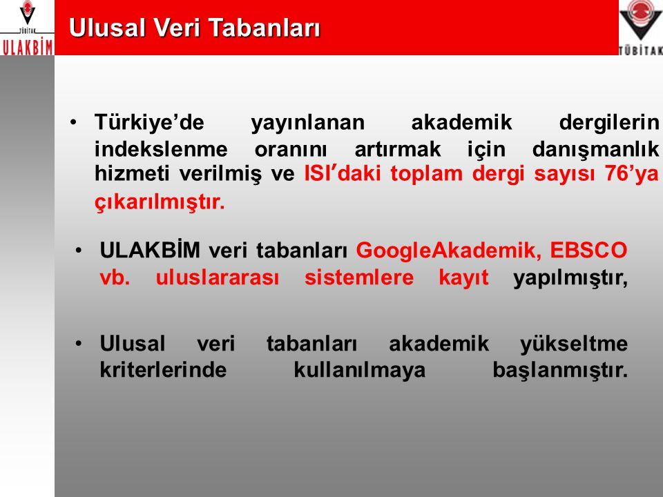 Ulusal Veri Tabanları Ulusal Veri Tabanları ULAKBİM veri tabanları GoogleAkademik, EBSCO vb. uluslararası sistemlere kayıt yapılmıştır, Ulusal veri ta