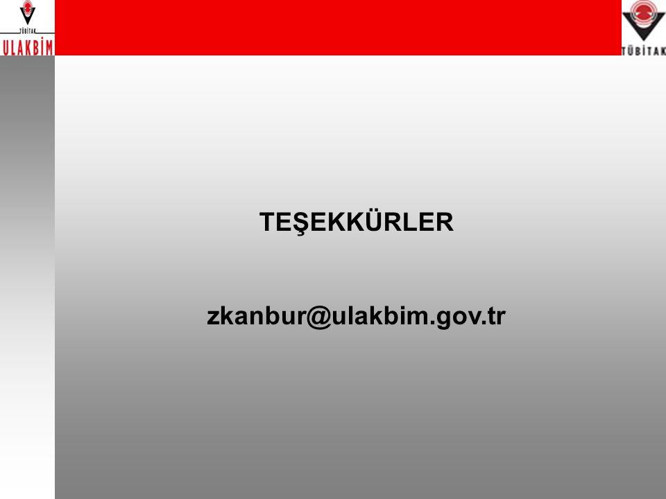 TEŞEKKÜRLER zkanbur@ulakbim.gov.tr