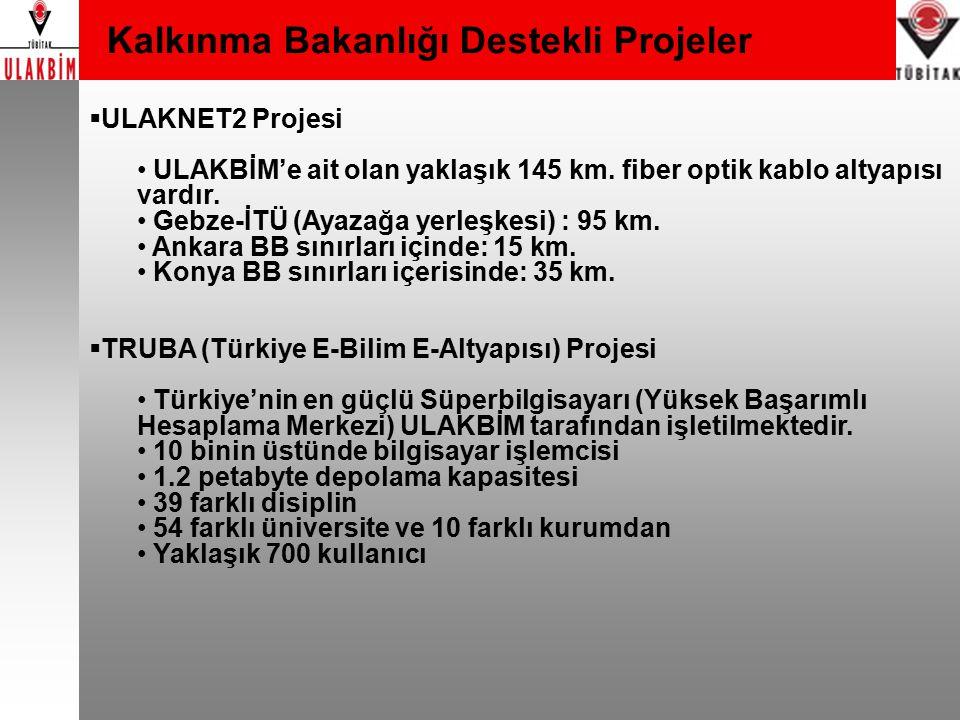 Kalkınma Bakanlığı Destekli Projeler  ULAKNET2 Projesi ULAKBİM'e ait olan yaklaşık 145 km. fiber optik kablo altyapısı vardır. Gebze-İTÜ (Ayazağa yer