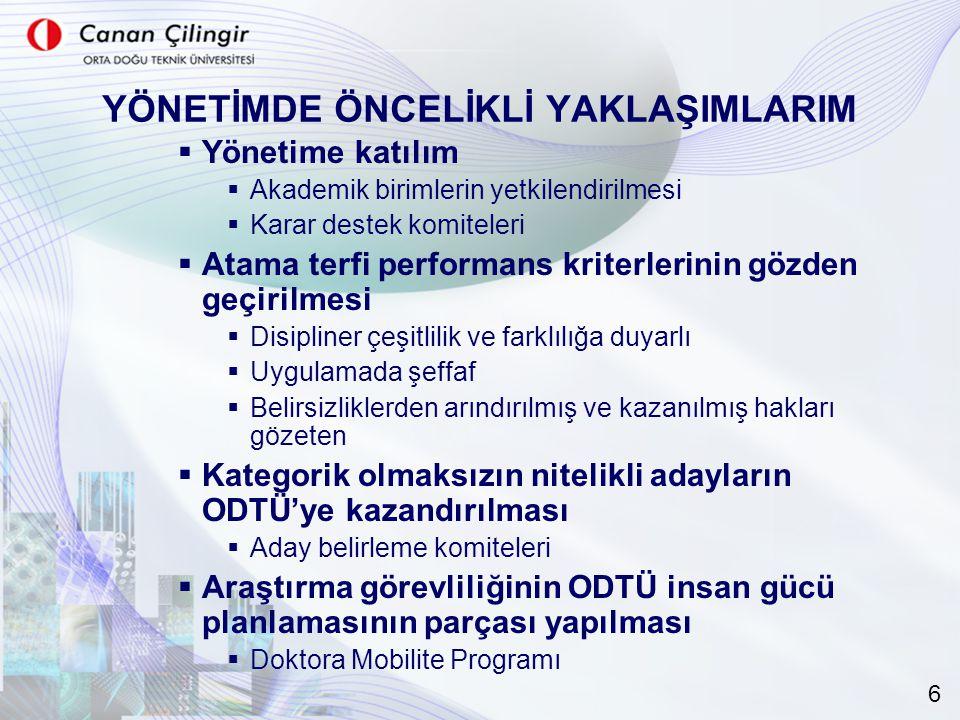 YÖNETİMDE ÖNCELİKLİ YAKLAŞIMLARIM  Yönetime katılım  Akademik birimlerin yetkilendirilmesi  Karar destek komiteleri  Atama terfi performans kriter