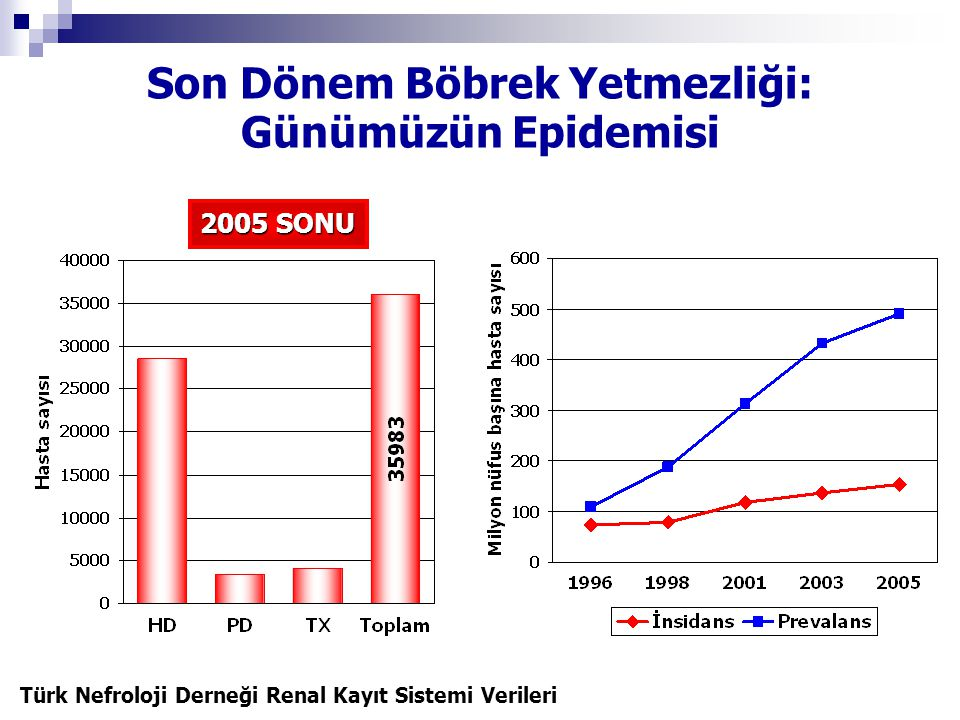 Türkiye'de Renal Replasman Tedavi Olanakları MERKEZ SAYISI HD667 PD101 TX35 HD CİHAZ SAYISI 9048
