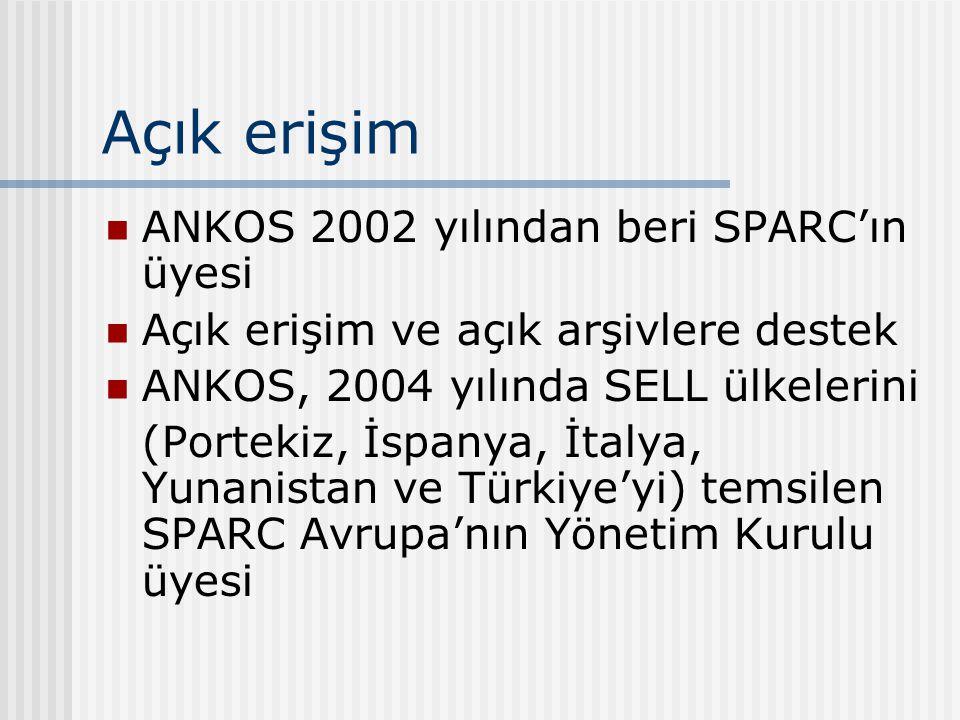 Açık erişim ANKOS 2002 yılından beri SPARC'ın üyesi Açık erişim ve açık arşivlere destek ANKOS, 2004 yılında SELL ülkelerini (Portekiz, İspanya, İtalya, Yunanistan ve Türkiye'yi) temsilen SPARC Avrupa'nın Yönetim Kurulu üyesi