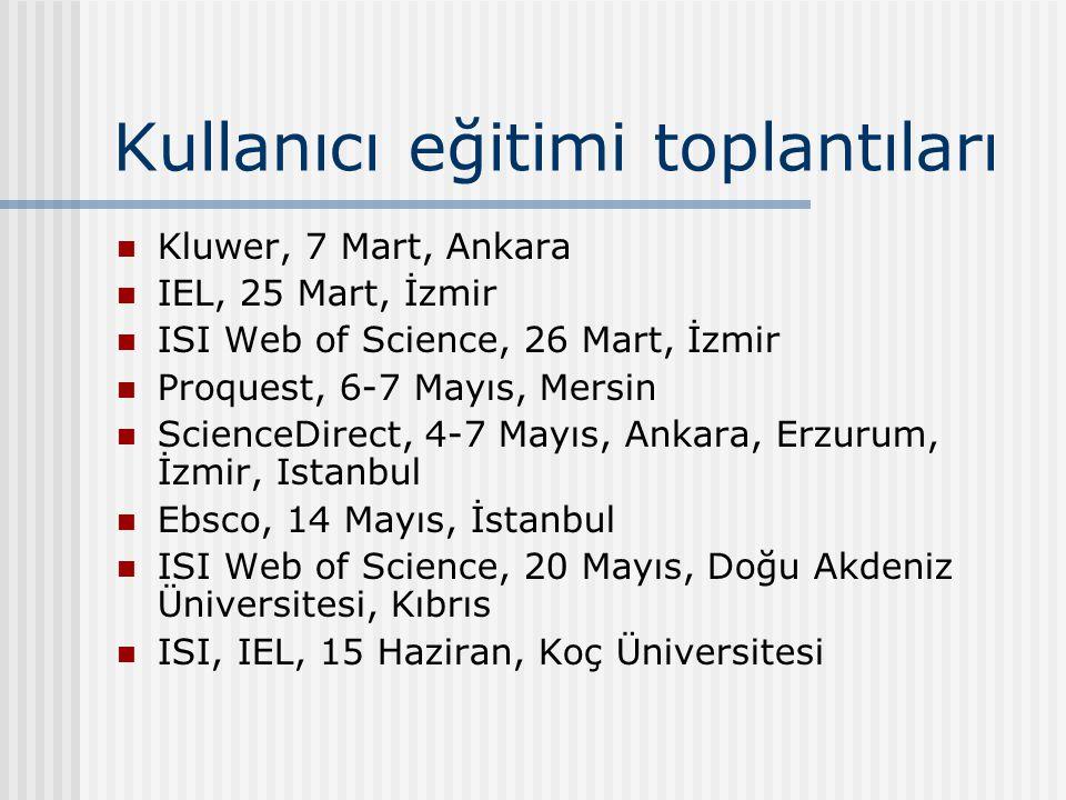 Kullanıcı eğitimi toplantıları Kluwer, 7 Mart, Ankara IEL, 25 Mart, İzmir ISI Web of Science, 26 Mart, İzmir Proquest, 6-7 Mayıs, Mersin ScienceDirect, 4-7 Mayıs, Ankara, Erzurum, İzmir, Istanbul Ebsco, 14 Mayıs, İstanbul ISI Web of Science, 20 Mayıs, Doğu Akdeniz Üniversitesi, Kıbrıs ISI, IEL, 15 Haziran, Koç Üniversitesi