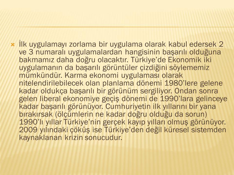 Özetle belirtmek gerekirse Türkiye Cumhuriyeti kuruluşundan bu yana farklı ekonomi politikaları denemiştir. Bunları şöylece sıralayabiliriz:  (1) Ö