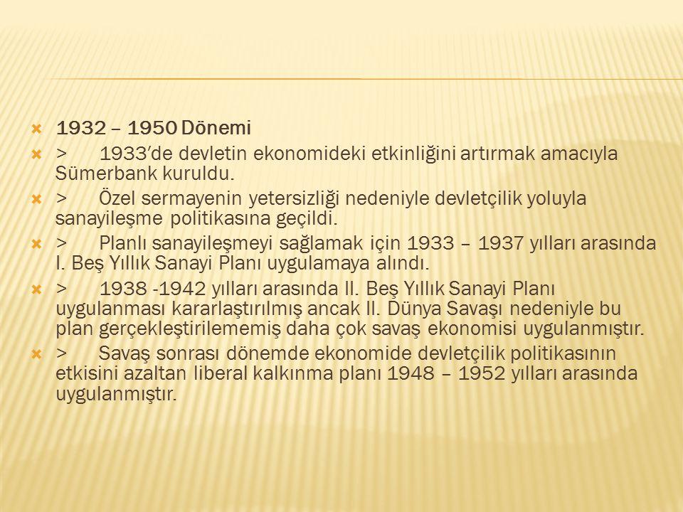  1923 – 1932 Dönemi  > 17 Şubat 1923 yılında İzmir iktisat Kongresi toplandı. Kongrede, devletin ekonomiyi destekleyici ve özendirici olması kararl