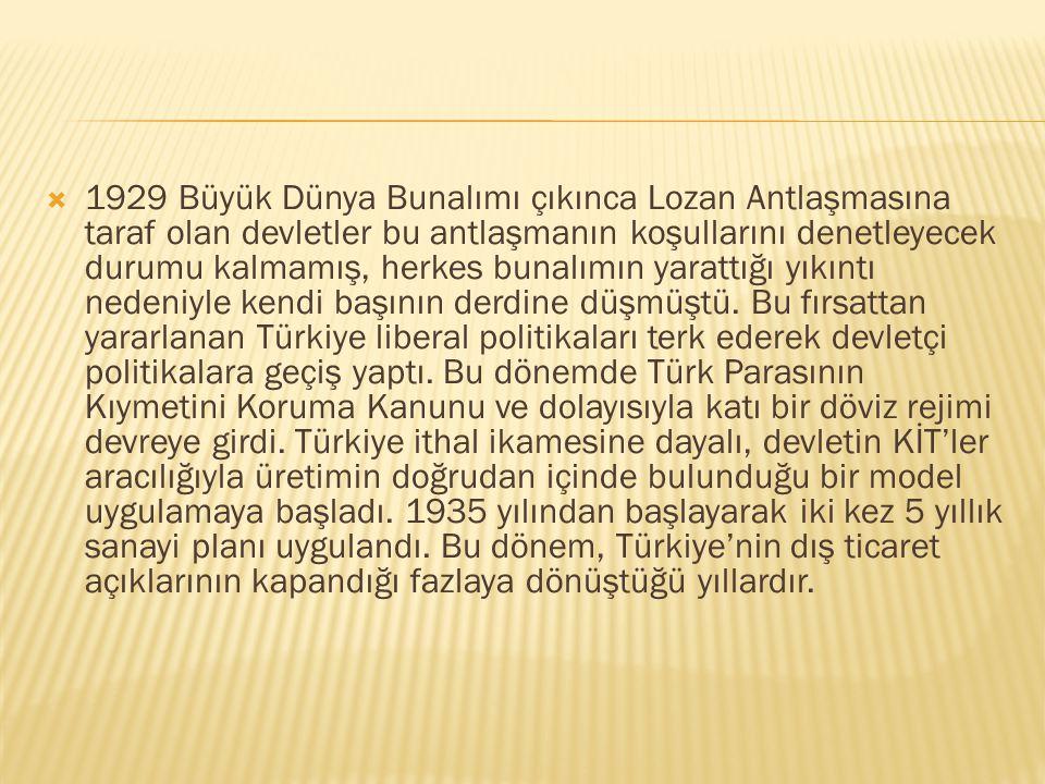  Cumhuriyetin ilk yıllarında Türkiye liberal bir ekonomi politikası izledi. Bu, Lozan Antlaşmasının öngördüğü bir modeldi. Lozan Antlaşması'nın koşul