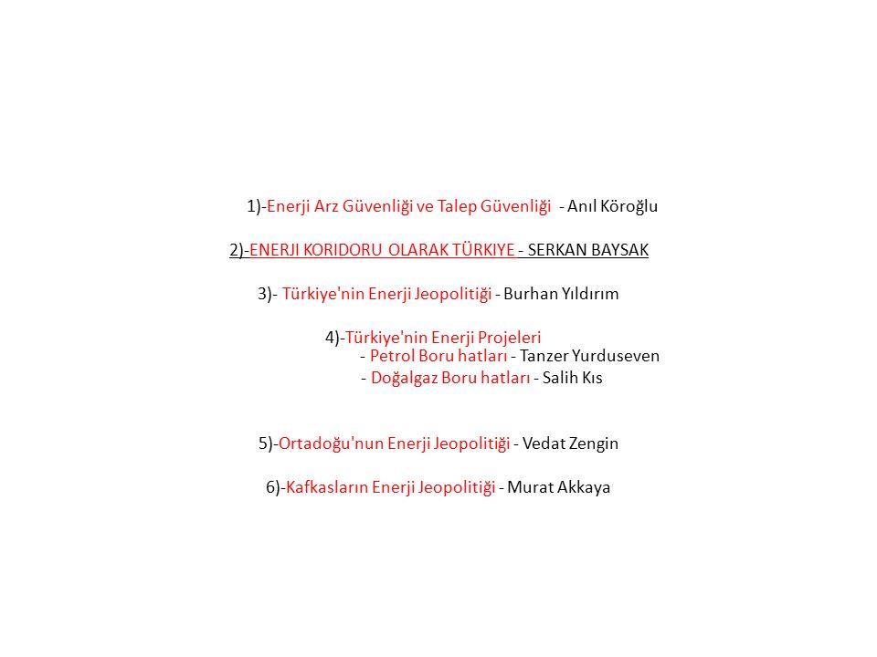 1)-Enerji Arz Güvenliği ve Talep Güvenliği - Anıl Köroğlu 2)-ENERJI KORIDORU OLARAK TÜRKIYE - SERKAN BAYSAK 3)- Türkiye'nin Enerji Jeopolitiği - Burha