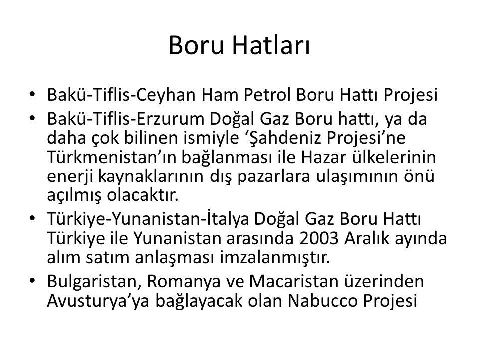 Boru Hatları Bakü-Tiflis-Ceyhan Ham Petrol Boru Hattı Projesi Bakü-Tiflis-Erzurum Doğal Gaz Boru hattı, ya da daha çok bilinen ismiyle 'Şahdeniz Proje