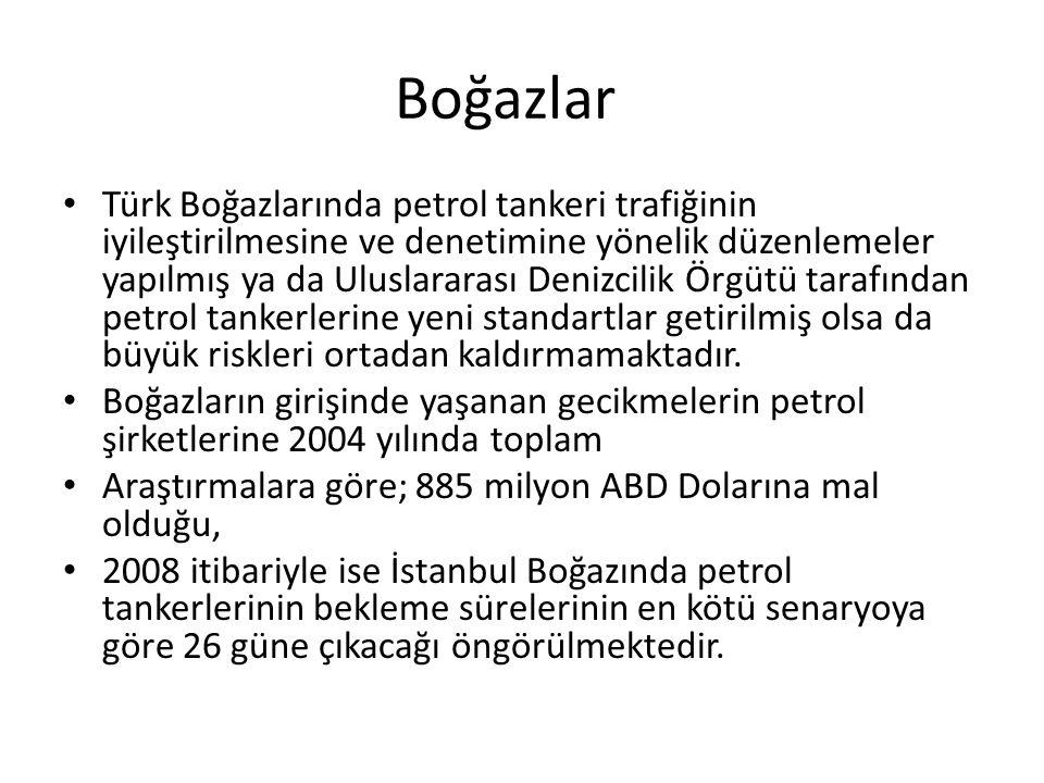 Boğazlar Türk Boğazlarında petrol tankeri trafiğinin iyileştirilmesine ve denetimine yönelik düzenlemeler yapılmış ya da Uluslararası Denizcilik Örgüt