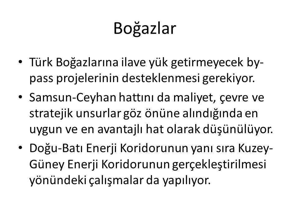 Boğazlar Türk Boğazlarına ilave yük getirmeyecek by- pass projelerinin desteklenmesi gerekiyor. Samsun-Ceyhan hattını da maliyet, çevre ve stratejik u