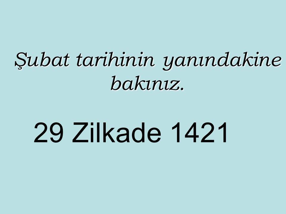 Şubat tarihinin yanındakine bakınız. 29 Zilkade 1421