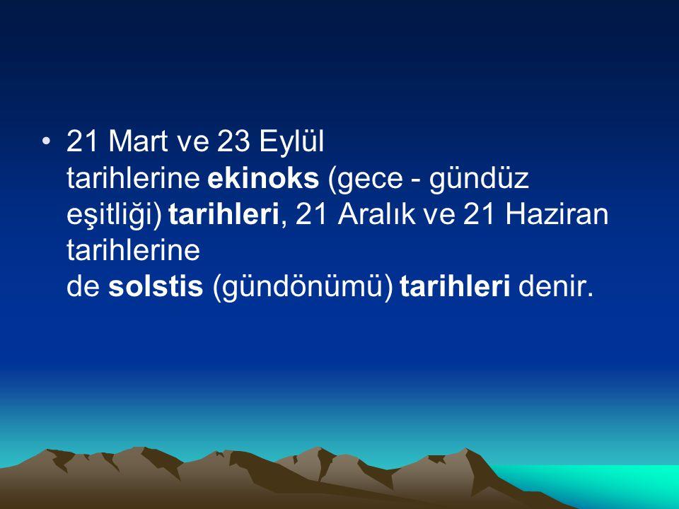 21 Mart ve 23 Eylül tarihlerine ekinoks (gece - gündüz eşitliği) tarihleri, 21 Aralık ve 21 Haziran tarihlerine de solstis (gündönümü) tarihleri denir