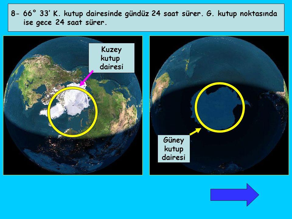 8- 66° 33' K. kutup dairesinde gündüz 24 saat sürer. G. kutup noktasında ise gece 24 saat sürer. Kuzey kutup dairesi Güney kutup dairesi