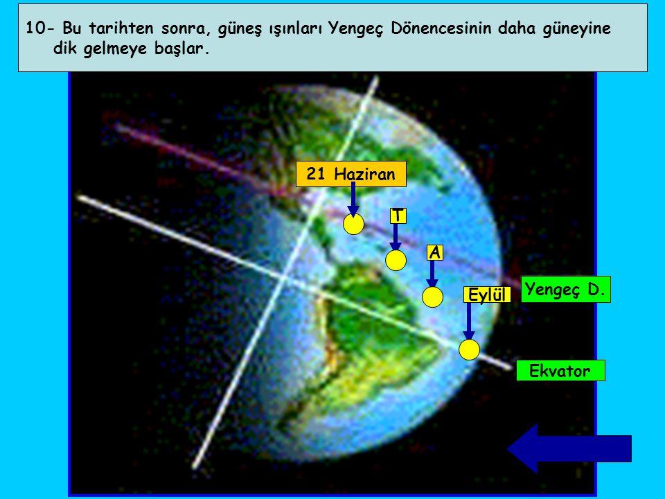 10- Bu tarihten sonra, güneş ışınları Yengeç Dönencesinin daha güneyine dik gelmeye başlar. Yengeç D. Ekvator 21 Haziran T A Eylül