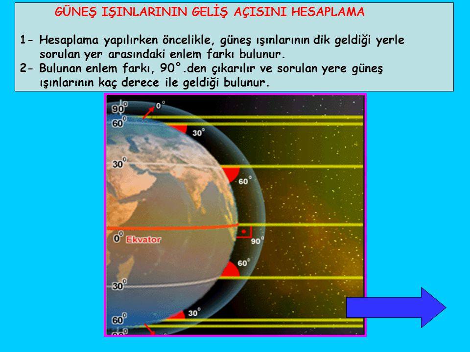 GÜNEŞ IŞINLARININ GELİŞ AÇISINI HESAPLAMA 1- Hesaplama yapılırken öncelikle, güneş ışınlarının dik geldiği yerle sorulan yer arasındaki enlem farkı bu
