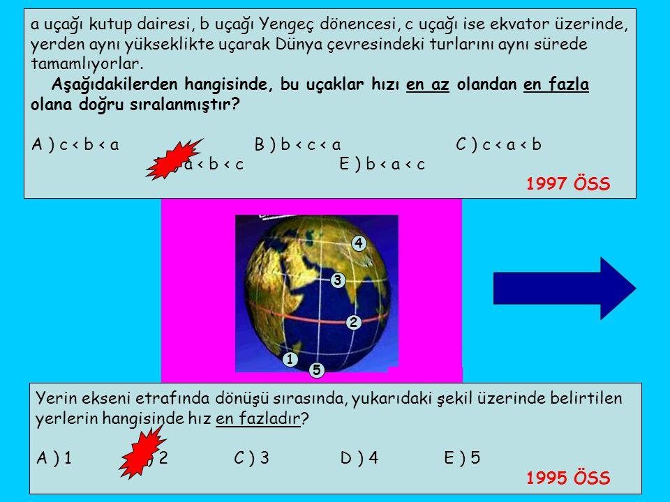 a uçağı kutup dairesi, b uçağı Yengeç dönencesi, c uçağı ise ekvator üzerinde, yerden aynı yükseklikte uçarak Dünya çevresindeki turlarını aynı sürede
