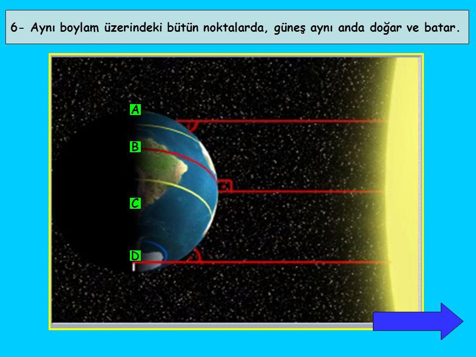 Aşağıdaki tabloda K, L ve M kentlerinin 21 Haziran ve 21 Aralık'taki gündüz uzunlukları ( saat ) gösterilmiştir.