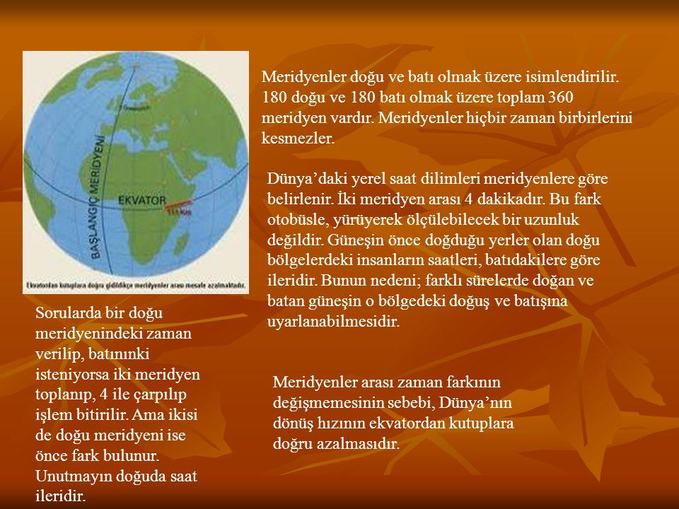 MERİDYENLER ARASI ZAMAN FARKININ HESAPLANMASI 30 Ankara'da saat 13:00'dır.