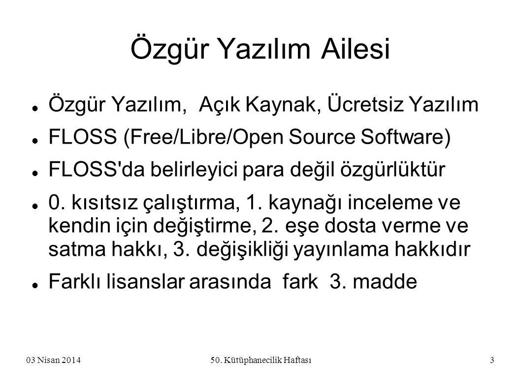 03 Nisan 201450. Kütüphanecilik Haftası3 Özgür Yazılım Ailesi Özgür Yazılım, Açık Kaynak, Ücretsiz Yazılım FLOSS (Free/Libre/Open Source Software) FLO