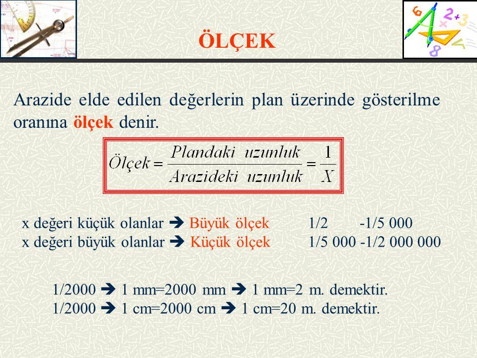 Arazide elde edilen değerlerin plan üzerinde gösterilme oranına ölçek denir.