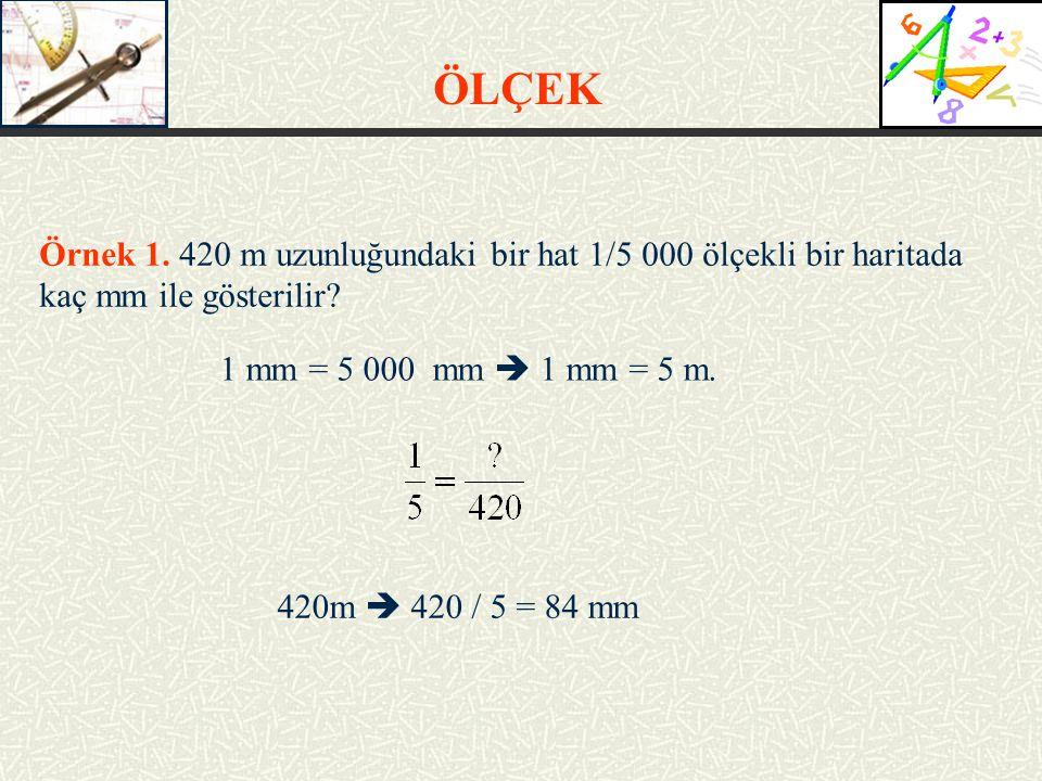 Örnek 1.420 m uzunluğundaki bir hat 1/5 000 ölçekli bir haritada kaç mm ile gösterilir.
