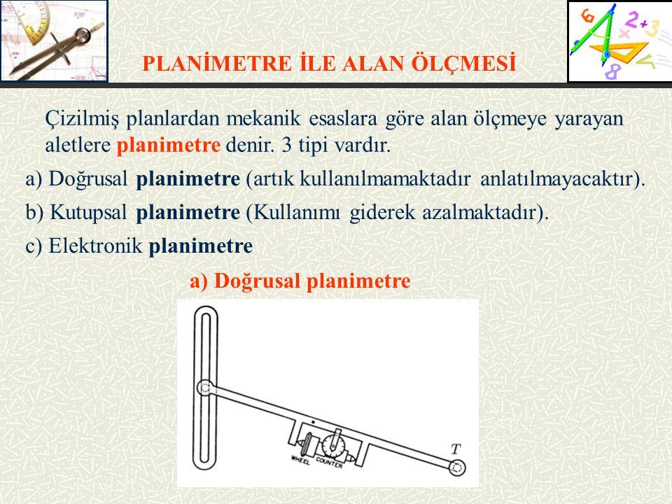 PLANİMETRE İLE ALAN ÖLÇMESİ Çizilmiş planlardan mekanik esaslara göre alan ölçmeye yarayan aletlere planimetre denir.