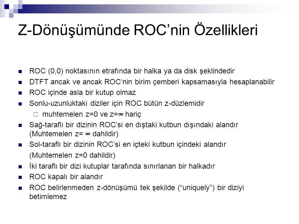 Z-Dönüşümünde ROC'nin Özellikleri ROC (0,0) noktasının etrafında bir halka ya da disk şeklindedir DTFT ancak ve ancak ROC'nin birim çemberi kapsamasıy