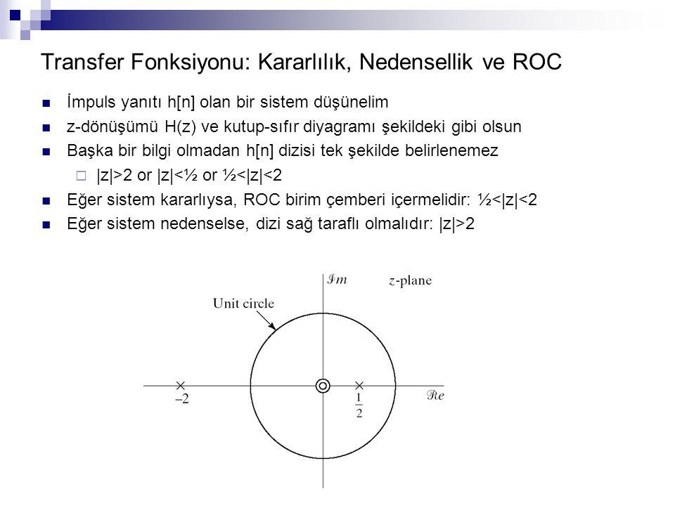 Transfer Fonksiyonu: Kararlılık, Nedensellik ve ROC İmpuls yanıtı h[n] olan bir sistem düşünelim z-dönüşümü H(z) ve kutup-sıfır diyagramı şekildeki gi
