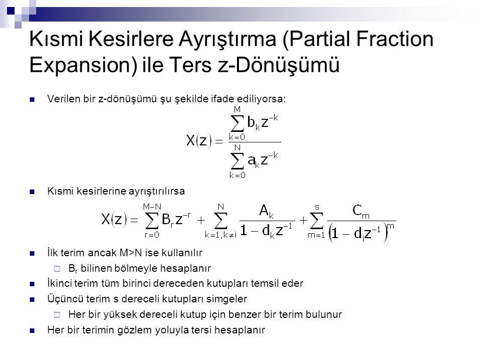 Kısmi Kesirlere Ayrıştırma (Partial Fraction Expansion) ile Ters z-Dönüşümü Verilen bir z-dönüşümü şu şekilde ifade ediliyorsa: Kısmi kesirlerine ayrı