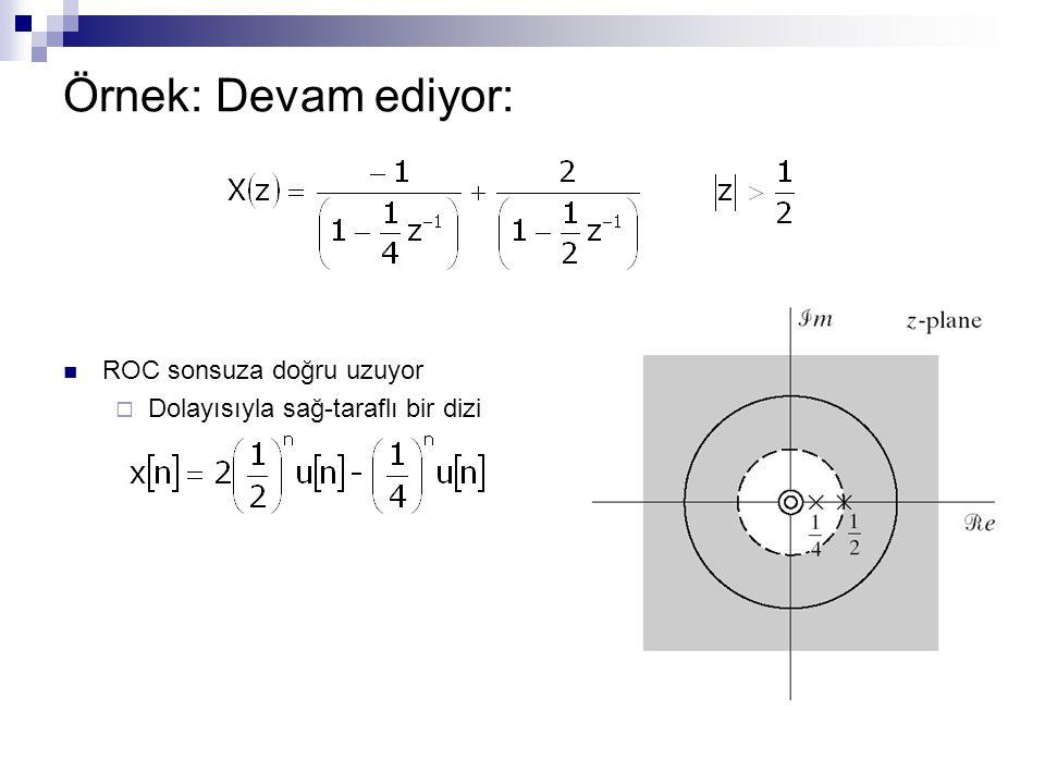 Örnek: Devam ediyor: ROC sonsuza doğru uzuyor  Dolayısıyla sağ-taraflı bir dizi