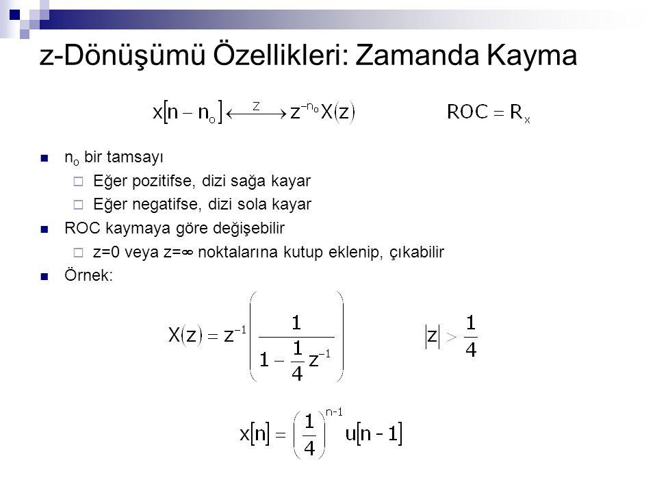 z-Dönüşümü Özellikleri: Zamanda Kayma n o bir tamsayı  Eğer pozitifse, dizi sağa kayar  Eğer negatifse, dizi sola kayar ROC kaymaya göre değişebilir