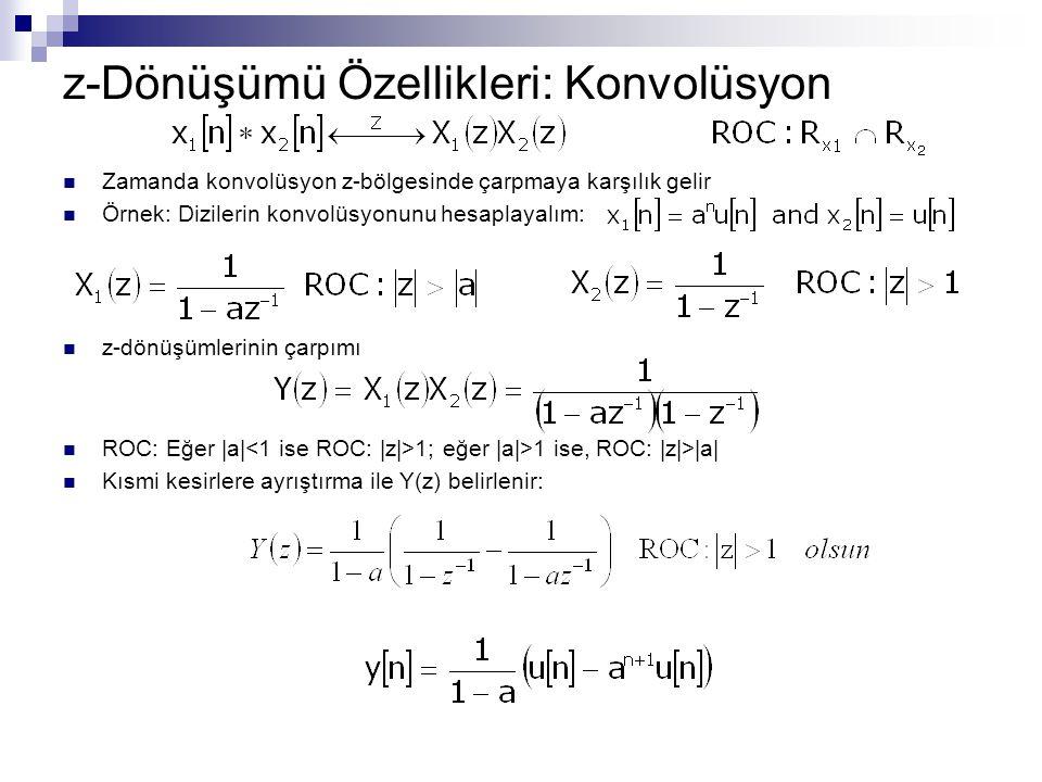 z-Dönüşümü Özellikleri: Konvolüsyon Zamanda konvolüsyon z-bölgesinde çarpmaya karşılık gelir Örnek: Dizilerin konvolüsyonunu hesaplayalım: z-dönüşümle
