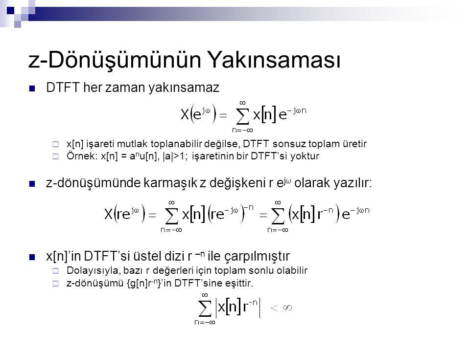 z-Dönüşümünün Yakınsaması DTFT her zaman yakınsamaz  x[n] işareti mutlak toplanabilir değilse, DTFT sonsuz toplam üretir  Örnek: x[n] = a n u[n],  a