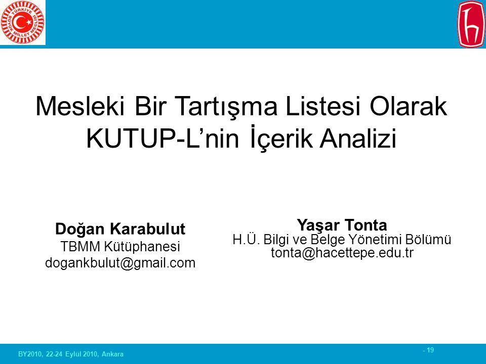 - 19 BY2010, 22-24 Eylül 2010, Ankara Doğan Karabulut TBMM Kütüphanesi dogankbulut@gmail.com Mesleki Bir Tartışma Listesi Olarak KUTUP-L'nin İçerik Analizi Yaşar Tonta H.Ü.