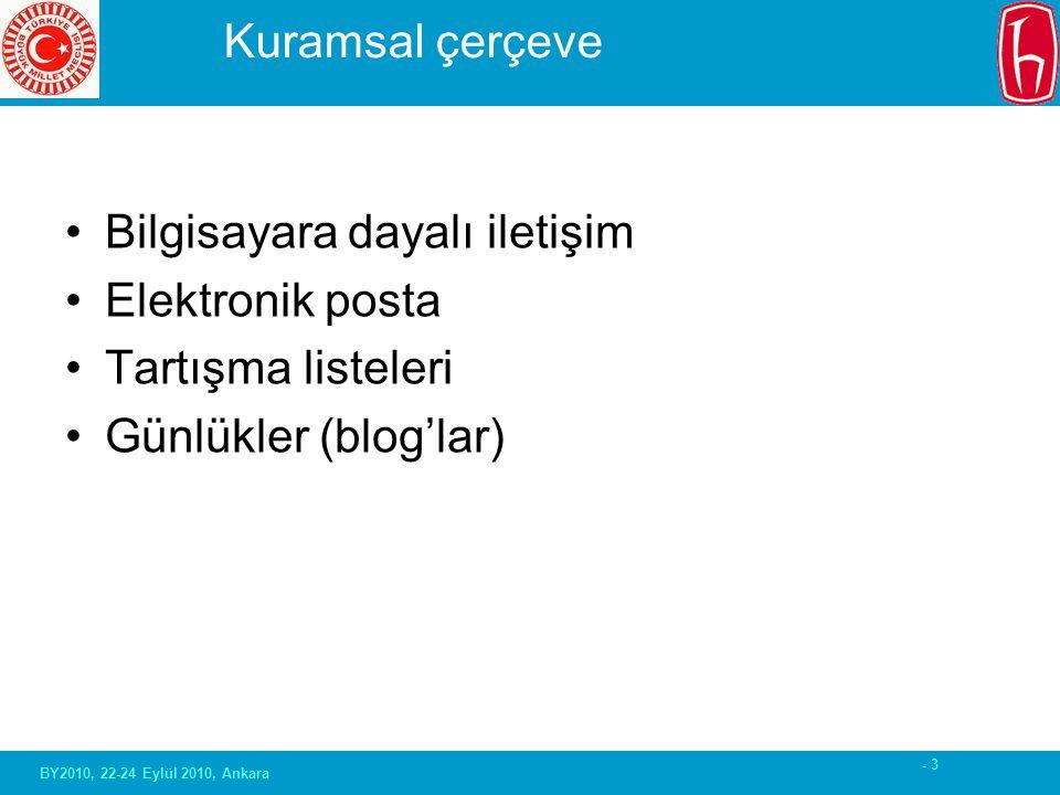 - 3 Kuramsal çerçeve Bilgisayara dayalı iletişim Elektronik posta Tartışma listeleri Günlükler (blog'lar) BY2010, 22-24 Eylül 2010, Ankara