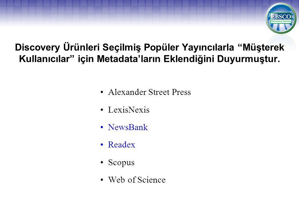 Discovery Ürünleri Seçilmiş Popüler Yayıncılarla Müşterek Kullanıcılar için Metadata'ların Eklendiğini Duyurmuştur.
