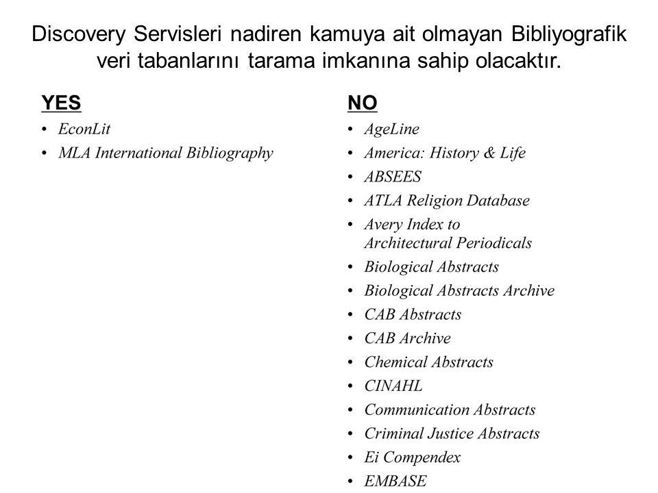 Discovery Servisleri nadiren kamuya ait olmayan Bibliyografik veri tabanlarını tarama imkanına sahip olacaktır.