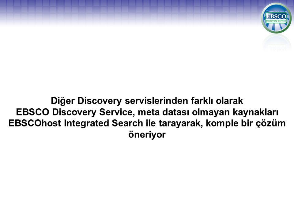 Diğer Discovery servislerinden farklı olarak EBSCO Discovery Service, meta datası olmayan kaynakları EBSCOhost Integrated Search ile tarayarak, komple bir çözüm öneriyor