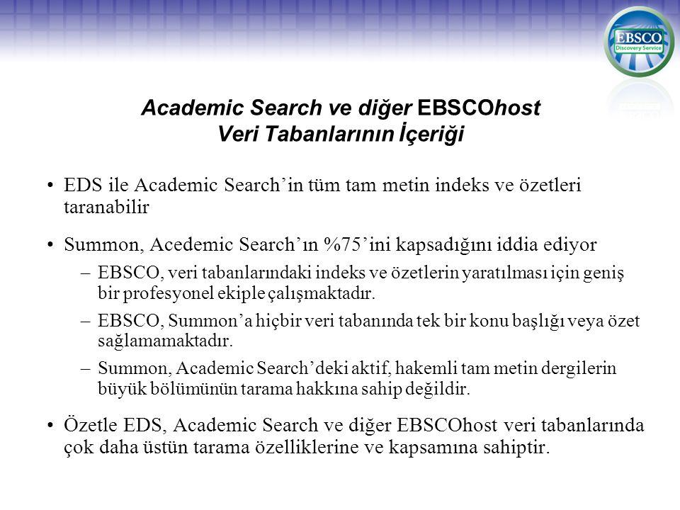 Academic Search ve diğer EBSCOhost Veri Tabanlarının İçeriği EDS ile Academic Search'in tüm tam metin indeks ve özetleri taranabilir Summon, Acedemic Search'ın %75'ini kapsadığını iddia ediyor –EBSCO, veri tabanlarındaki indeks ve özetlerin yaratılması için geniş bir profesyonel ekiple çalışmaktadır.