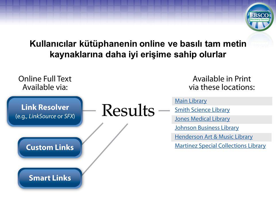 Kullanıcılar kütüphanenin online ve basılı tam metin kaynaklarına daha iyi erişime sahip olurlar